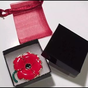 (2) Red Poppy Flower Remembrance Lapel Brooch Pin